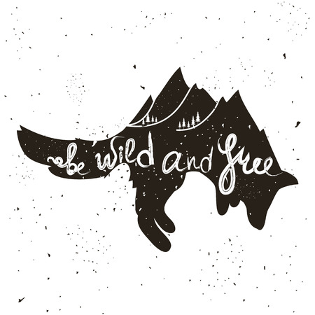 Illustration pour Inspirational and motivational hipster style illustration with fox and lettering - image libre de droit