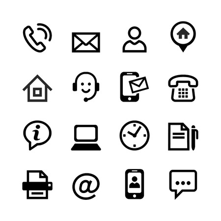 Illustration pour  Set 16 basic icons - contact us 	Set 16 basic icons - contact us  - image libre de droit