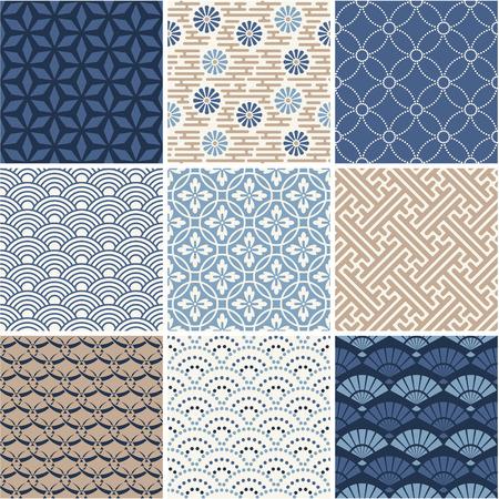 Illustration pour Japan seamless pattern collection  - image libre de droit