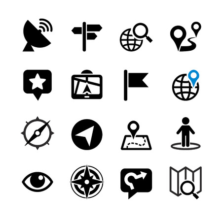 Illustration for Set of 16 web icons  Location, navigation, map - Royalty Free Image