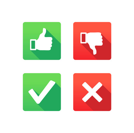 Yes, No, Thumbs up and down icons