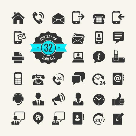 Illustration pour Web icon set. Contact us - image libre de droit