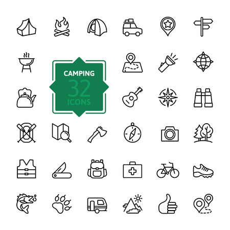 Outline web icon set - summer camping, outdoor, travel.