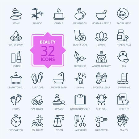Ilustración de Thin lines web icon set Spa Beauty - Imagen libre de derechos
