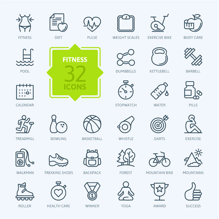 Foto de Outline web icon set sport and fitness - Imagen libre de derechos