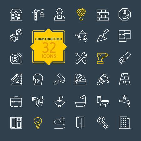 Illustration pour Outline web icons set construction home repair tools - image libre de droit