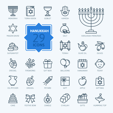 Illustration for Outline icon collection - Symbols Of Hanukkah - Royalty Free Image
