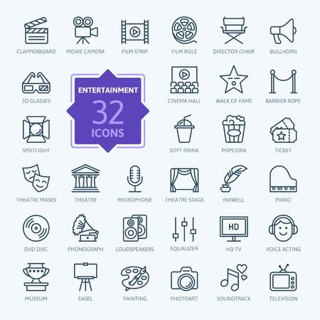 Illustration pour Entertainment icon set - outline icon collection, vector - image libre de droit