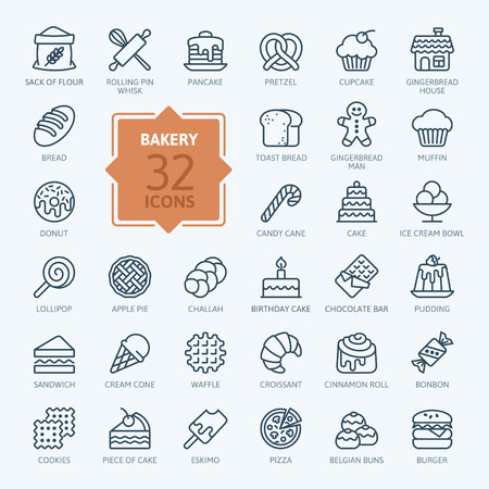 Illustration pour Bakery icon set - outline icon collection, vector - image libre de droit