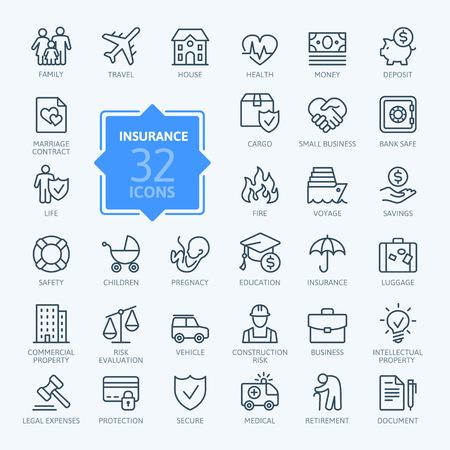 Vektor für Insurance - outline icon set, vector, simple thin line icons collection - Lizenzfreies Bild