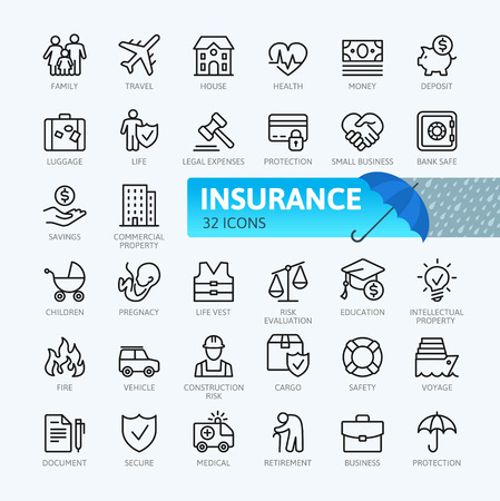 Ilustración de Insurance elements - minimal thin line web icon set. Outline icons collection. Simple vector illustration. - Imagen libre de derechos