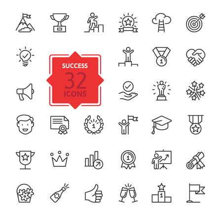 Illustration pour Sussess, awards, achievment elements - minimal thin line web icon set. Outline icons collection. Simple vector illustration. - image libre de droit