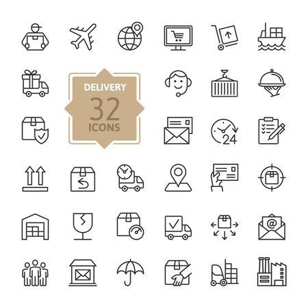 Illustration pour Delivery, shipping, logistics - minimal thin line web icon set. Outline icons collection. Simple vector illustration. - image libre de droit