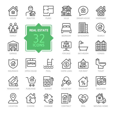 Illustration pour Real Estate minimal thin line web icon set. Included real estate, property, mortgage, home loan and more. Outline icons collection. Simple vector illustration. - image libre de droit