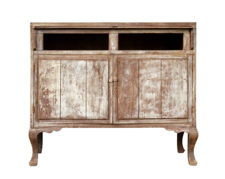Foto de Vintage wooden cabinet isolated on white background - Imagen libre de derechos