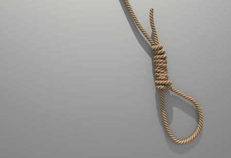 A fabric low poly suicide rope with slipknot placed on the white concrete wall with white space on left. 3D illustration and rendered by program Blender.
