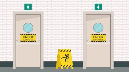 Toilet Door Vector Under Construction Label Brick Wall