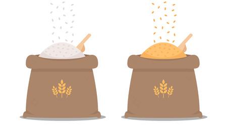Ilustración de rice sack cartoon vector. rice bag. symbol. logo design. - Imagen libre de derechos