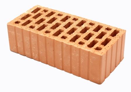 orange,clay brick on a white background
