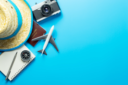 Photo for Summer travel blogger accesories on blue copy space - Royalty Free Image
