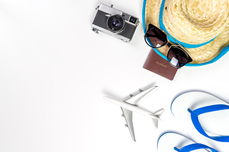 Summer vacation travel accessories and fashion on white background