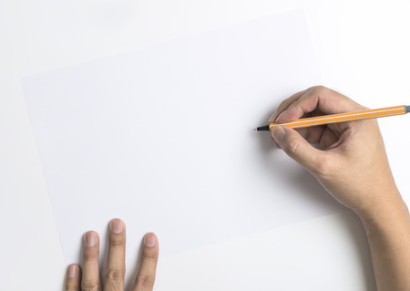 Hand writing on to a white copy space for text and massage banner