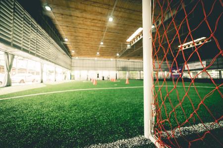 Foto de Goal Line of an indoor football soccer training field - Imagen libre de derechos