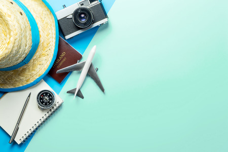 Photo for Summer Travel accessories on blue teal background copy space - Royalty Free Image