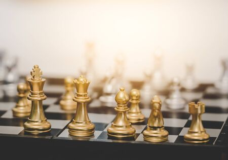 Photo pour Golden Chess board game for business planning for business strategy concept - image libre de droit