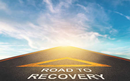 Photo pour Road to recovery concept for business and health concept with Blue cloud sky background. - image libre de droit