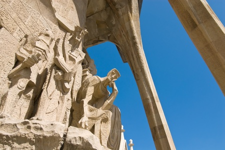 Passion facade (part) of Sagrada Familia(Gaudi's famous and uncompleted church) in Barcelona,Spain.