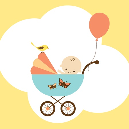 Illustration for Vector illustration of a happy baby boy in stroller  - Royalty Free Image