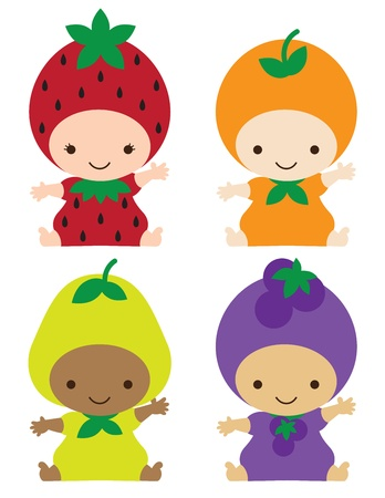 Photo for illustration of smiling babies in strawberry, orange, pear, and grape costumes  - Royalty Free Image