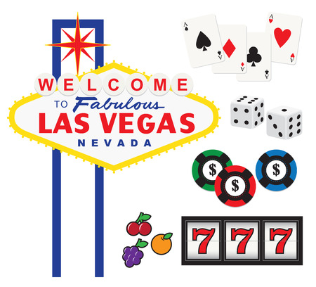Vector illustration of Welcome to Fabulous Las Vegas sign and gambling elements including cards, dices, chips, and slot machine