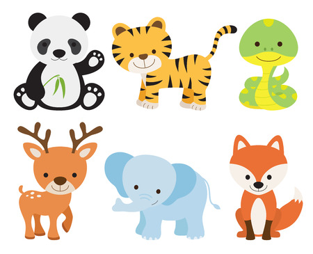 Vector illustration of cute animal set including panda, tiger, deer, elephant, fox, and snake.