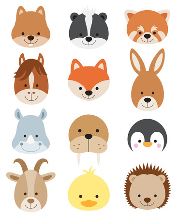 Vector illustration of animal faces including squirrel, hamster, skunk, red panda, horse, fox, kangaroo, rhino, walrus, penguin, goat, duck, and hedgehog.のイラスト素材