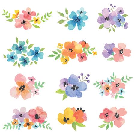 Illustration pour Watercolor Vector Flowers - image libre de droit
