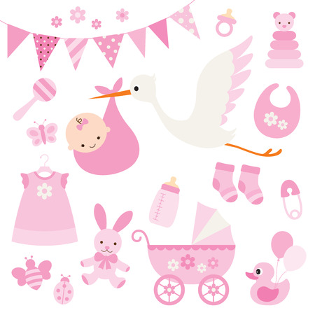 Illustration for illustration for baby girl shower and baby items. - Royalty Free Image