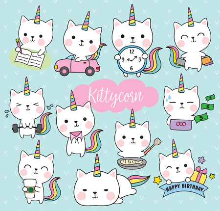 Ilustración de Vector illustration of cute white cat unicorn - Imagen libre de derechos