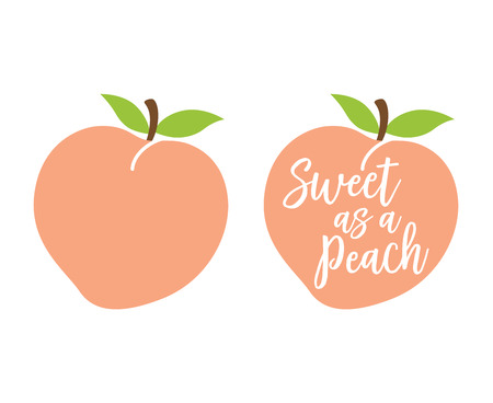 """Illustration for Peach logo with quote """"Sweet as a Peach"""" vector illustration. - Royalty Free Image"""