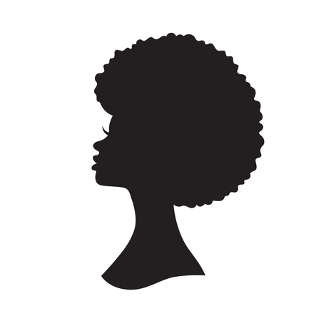 Illustration for Vector illustration of black woman with afro hair silhouette. Side view of African American woman with natural hair. - Royalty Free Image