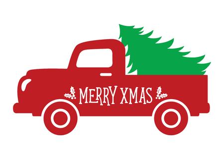 Ilustración de Vector illustration of an old vintage truck carrying a Christmas tree. - Imagen libre de derechos