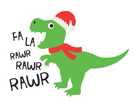 Vector illustration of cute dinosaur wearing a Santa hat and red scarf.