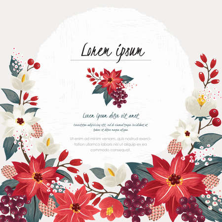 Photo pour Vector illustration of a beautiful floral border in winter for Happy New Year and Merry Christmas cards - image libre de droit