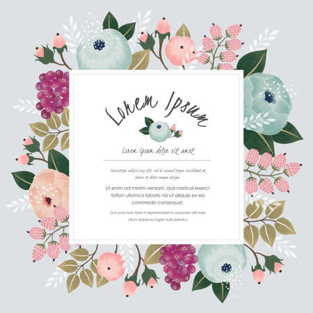 Photo pour Vector illustration of a beautiful floral frame with flowers for wedding invitations and birthday cards - image libre de droit