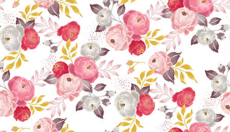 Illustration pour Vector illustration of a seamless floral pattern in spring for Wedding, anniversary, birthday and party. Design for banner, poster, card, invitation and scrapbook - image libre de droit