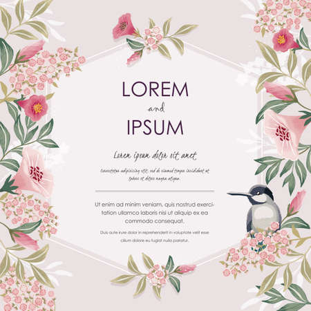 Illustration pour Vector illustration with a cute bird on a floral branch in spring for Wedding, anniversary, birthday and party. Design for banner, poster, card, invitation and scrapbook - image libre de droit