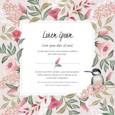 Illustration for Vector illustration with a cute bird on a floral branch in spring for Wedding, anniversary, birthday and party. Design for banner, poster, card, invitation and scrapbook - Royalty Free Image