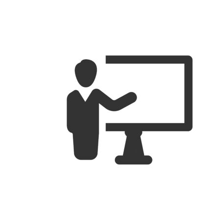 Illustration pour Business presentation, conference, seminar icon - image libre de droit