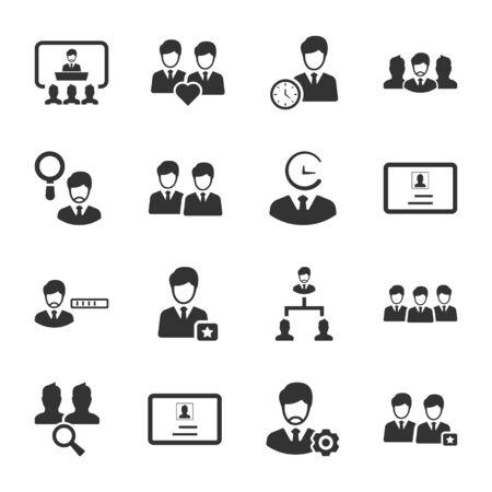 Illustration pour Business and management black icons set 03 - image libre de droit